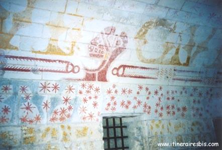 Fresque sur le mur du cachot de Ludovic Sforza à voir lors d'une visite du château de Loches